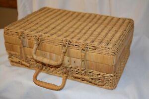 Vintage Rattan Wicker Picnic Basket Suitcase Style Kitchen Storage Decoration