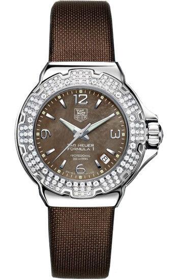 086e427b125 TAG HEUER LADIES FORMULA 1 DIAMOND BEZEL BROWN DIAL SATIN WATCH  WAC1217.FC6221