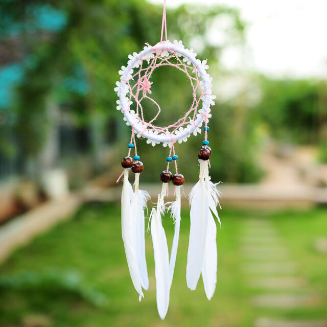 Handmade White Flower Dream Catcher With feathers Wall Hanging Decoration Decor