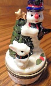 Vintage 2001 Ceramic Christmas Snowman Hinged Trinket Box Tree Gold-Star     123