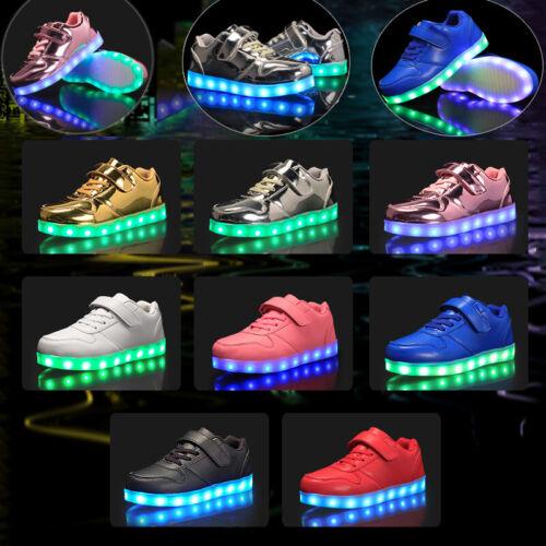 USB LED Light Up Kids Boys Girls Trainers Luminous Sneaker Children Shoes Gift