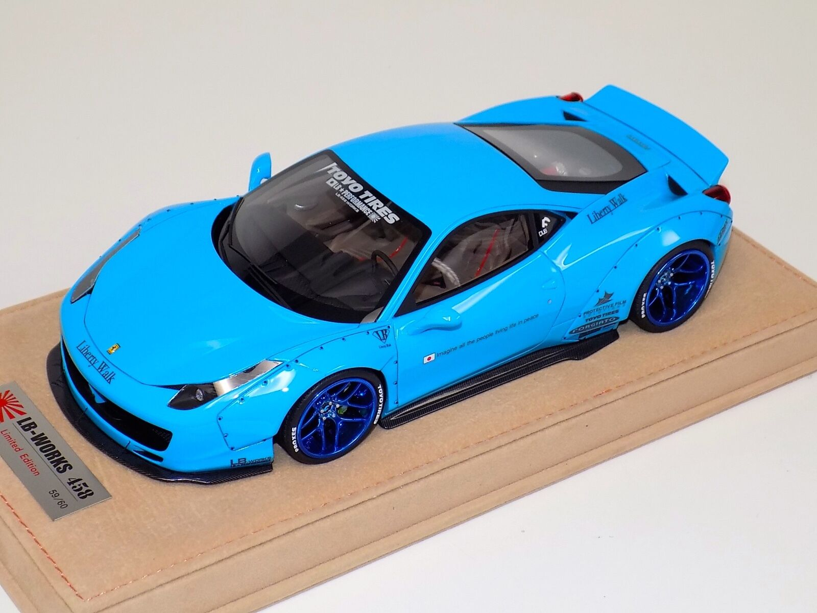 1 18 Ferrari 458 Liberty Walk LB Performance Baby bluee , bluee Wheels N BBR or MR