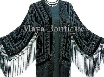 Black Kimono Silk Burnout Velvet Fringe Jacket Short Maya Matazaro Made in USA