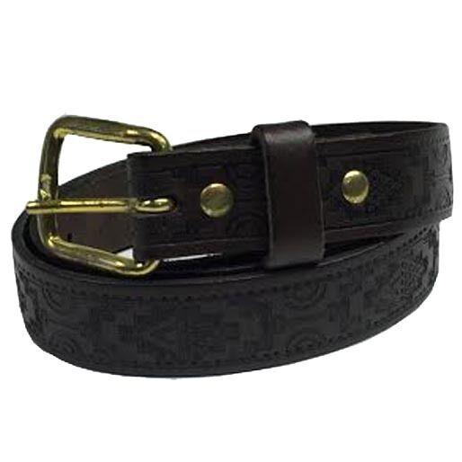 25mm manchado Marrón Azteca Relieve Hecho a Mano Jean 100% Cinturón de cuero Hecho en Inglaterra