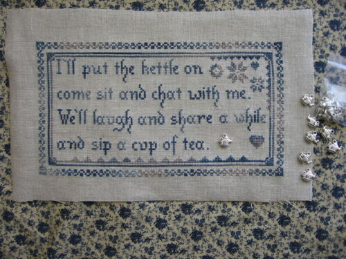 I/'ll put the kettle on sampler counted cross stitch chart new