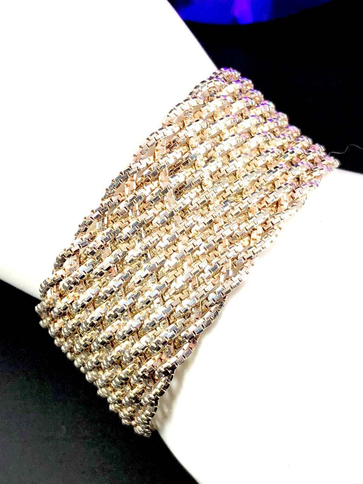 FABULOUS SIGNED ITALY 925 STERLING MIXED METAL 1  WIDE WOVEN MESH 7.5  BRACELET