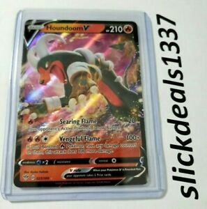 Pokemon Houndoom V 021//189 Full Art Holo Card Darkness Ablaze Top Loader