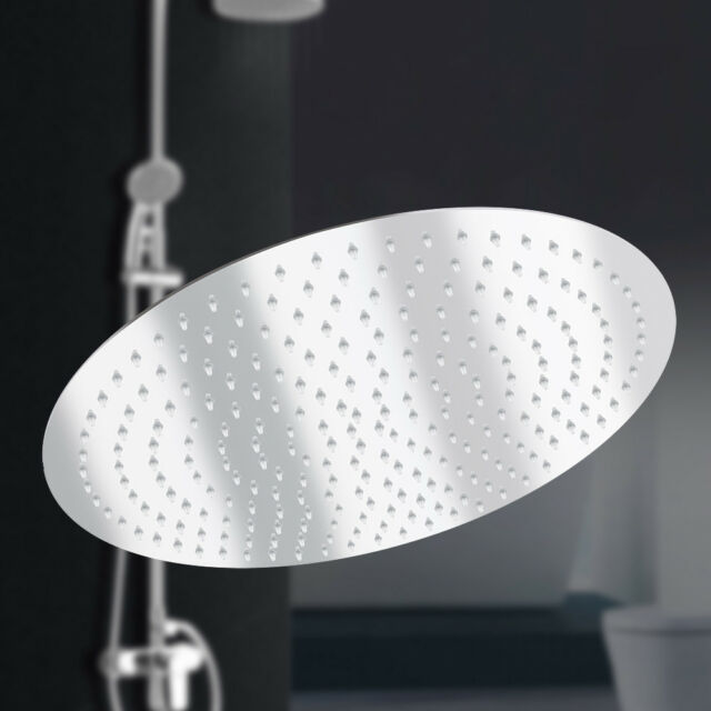 16/'/' Round Stainless Steel Chrome Rain Shower Head Rainfall Bathroom Top Sprayer