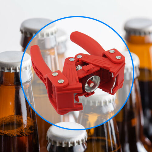 BOTTLE CAPPER FOR HOME BREW BEER MAKING WITH 5 X 60 BOTTLE CAPS IN-133