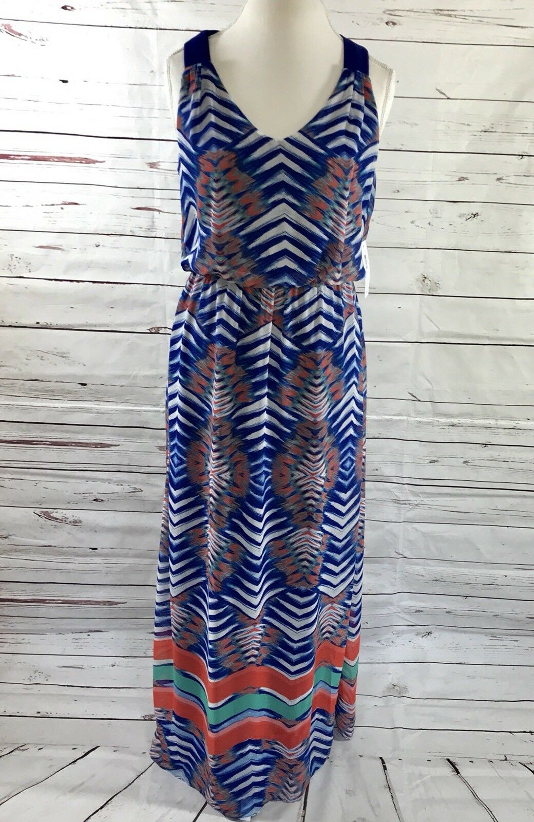 Bisou Bisou Women's 8 Maxi Dress Lined Racerbak bluee Multi