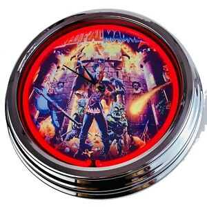 "N-0506 Wall Clock "" Pinball Medieval Madness Decor Watch Neon Clock Game Room"