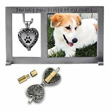 YOU LEFT PAW PRINTS ON MY HEART Pet/Dog Memorial Frame & Urn Ash Locket