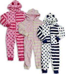073fcdb6f99f01 Details zu Kinder Overall Fleece Schlafanzug Einteiler Kapuze Ohren Pyjama  Hausanzug Onesie