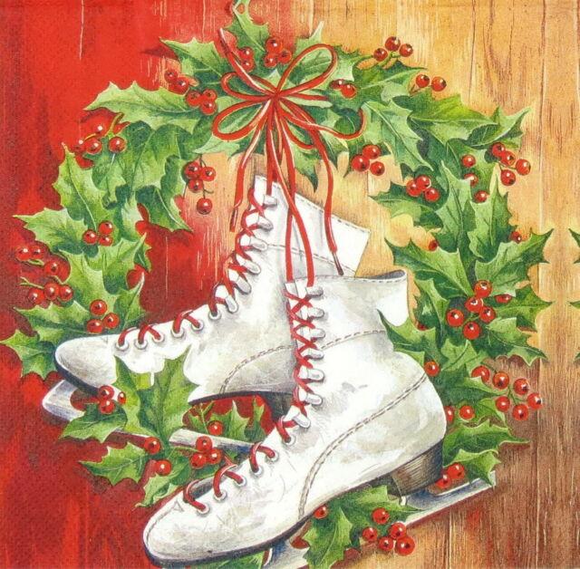 4x Paper Napkins for Decoupage Decopatch Christmas Skates