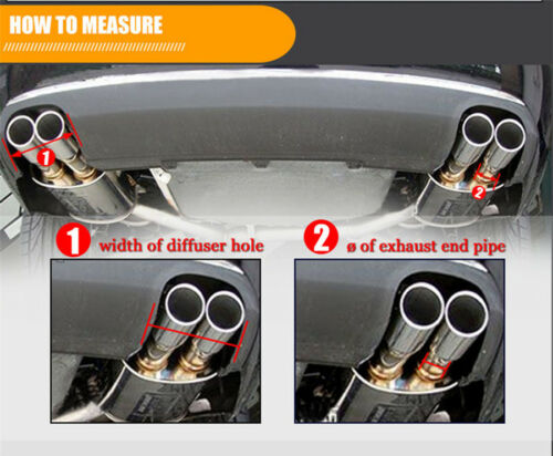 63mm Inlet 89mm Outlet Carbon Fiber Car Dual Exhaust Pipe Tail Muffler Tip Cover