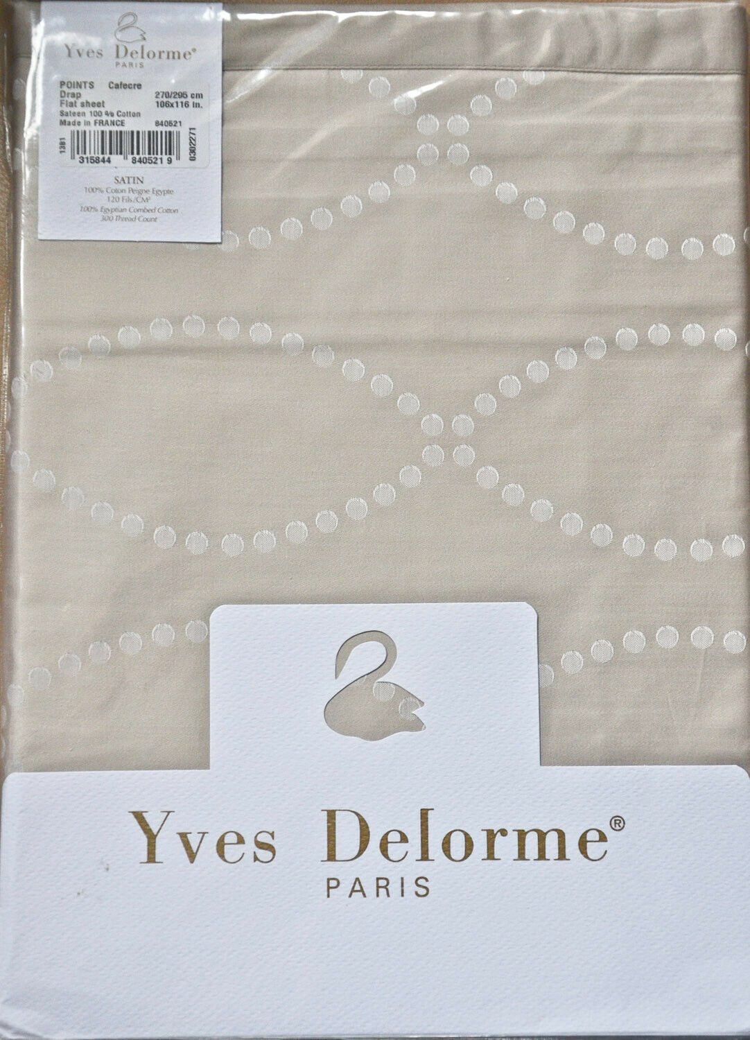 YVES DELORME  POINTS CafeCreme  FLAT SHEET  superking  king 270  295  NEW+PKT