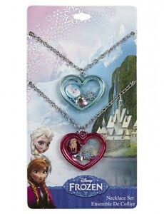 Disney Frozen Elsa & Anna BFF Necklace Shaker Heart Pendant Best Friends Bestie