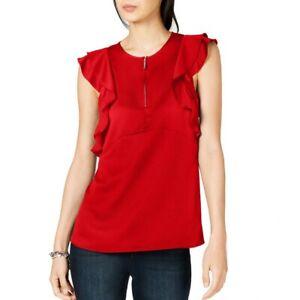 MICHAEL-KORS-NEW-Women-039-s-Flounce-Double-Sleeve-Zip-up-Blouse-Shirt-Top-TEDO
