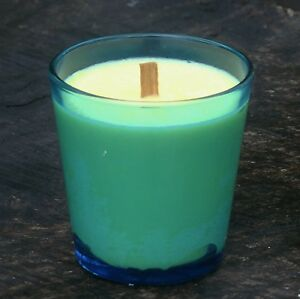 40hr AMBERED SANDALWOOD & PATCHOULI Eco Soy WOOD WICK AQUA TURQUOISE JAR CANDLE