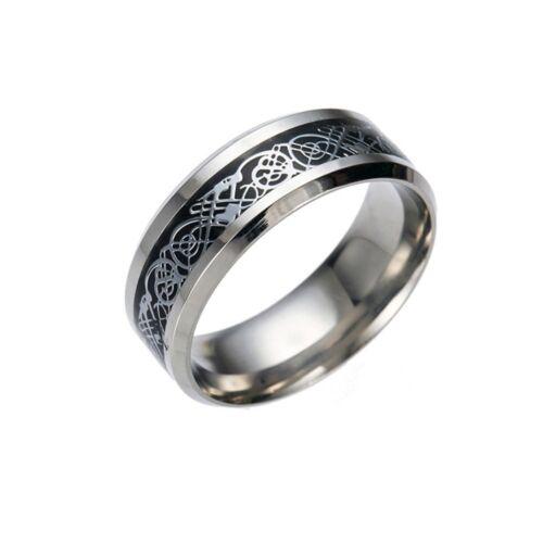 Men/'s Punk Dragon Design Band Titanium Steel Finger Ring Wedding Jewelry Cheap