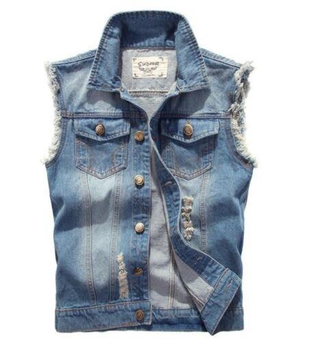 Men Denim Vest Jean Jacket Waistcoat Sleeveless Vintage Punk Casual Jacket black