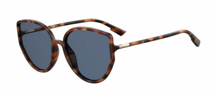 Christian Dior SoStellaire Cat Eye Sunglasses Dark Havana Blue Gold + Case