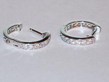 1/2 Carat Sparkling Clear Diamonique Mini Hoops Earrings Sterling Silver