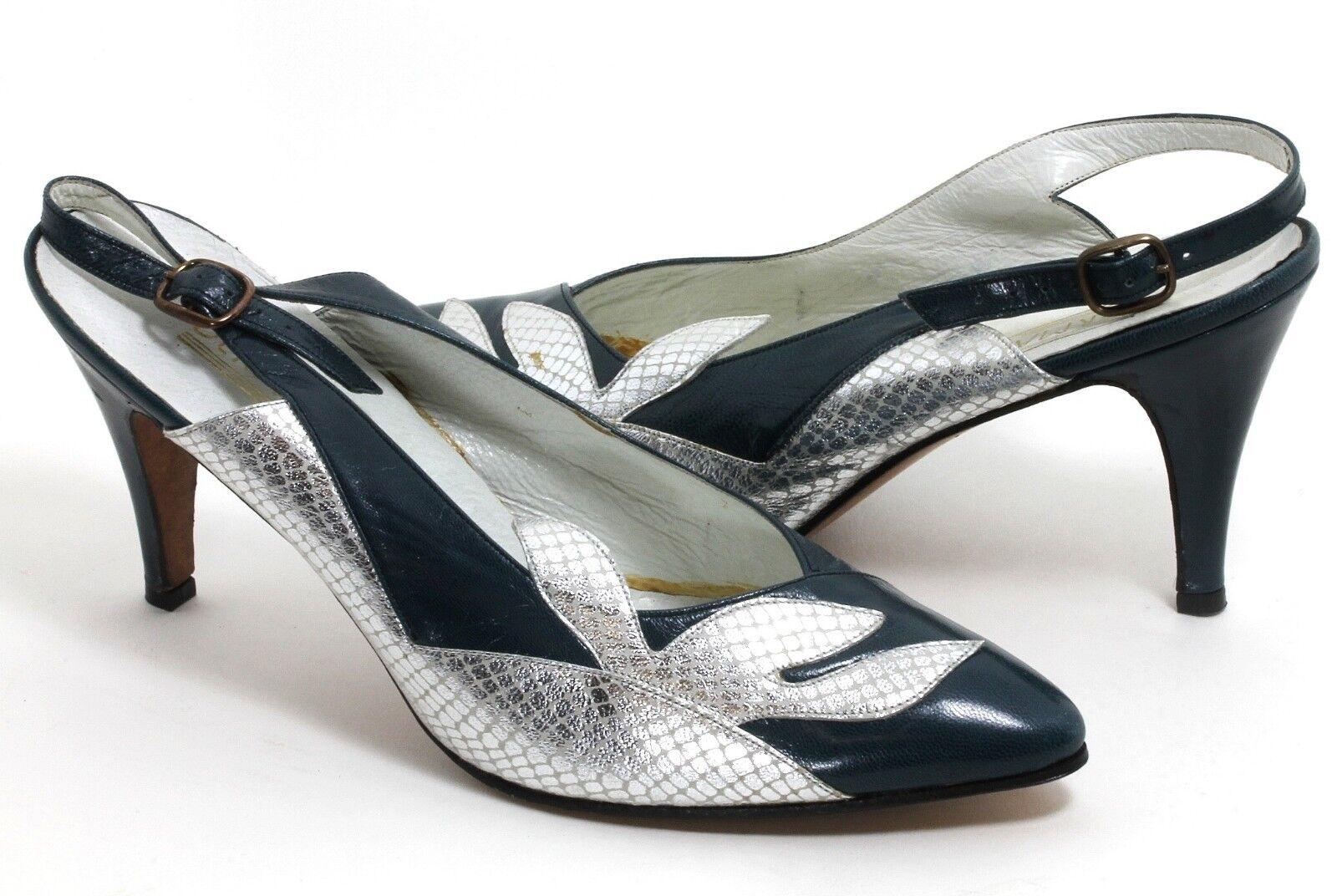 Cinghia Elegante Vintage décolleté Scarpe da donna derma Style METALLIZZATO pelle petrolio 39