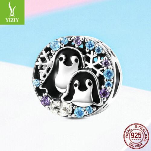 Pingouin Famille 925 Sterling Silver Charm Bead Fit Bracelet pour Famille Cadeau