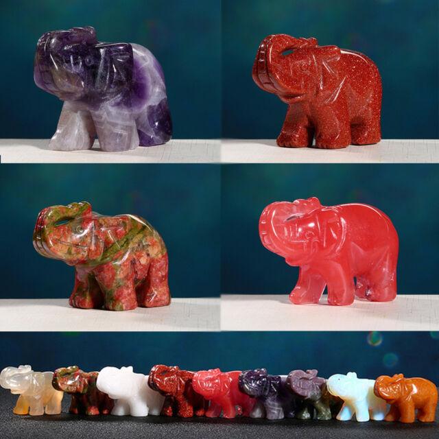 "2/""//50g Opalite Elephant Handmade Stone Carving"