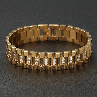 Gut Luxus Herren Gelbgold Armband Panzerkette Edelstahl 750er Gold Vergoldet 22cm Produkte Werden Ohne EinschräNkungen Verkauft