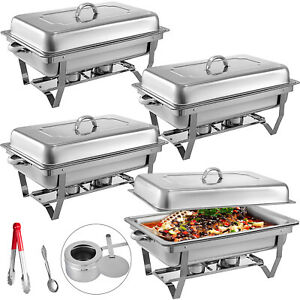 4-Pack-Chafing-Dish-Sets-Buffet-Catering-Stainless-Steel-Food-Warmer-Rectangular