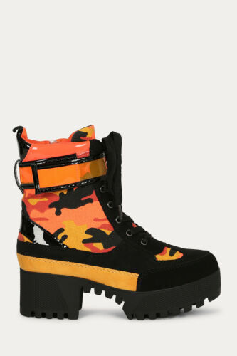 New Camouflage Lace-Up Ankle Strap Combat Booties Ankle Boots Lug Sole Platform