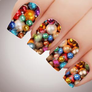 RAINBOW-BAUBLES-Christmas-Nail-Decal-Water-Transfer-Xmas-Sticker-Tattoo