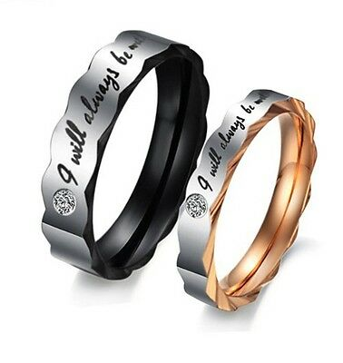 Korean I WILL ALWAYS BE WITH YOU Promise Couple Lovers Wedding Bands Rings Set