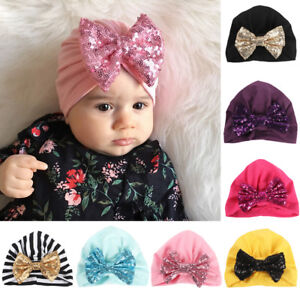 b07dcee5a Image is loading Baby-Toddler-Girls-Cute-Shiny-Sequin-Bowknot-Turban-