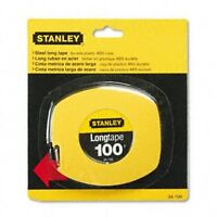 Stanley 34106 Long Tape Measure, 3/8 Graduations, 100 Ft., Yellow, on sale