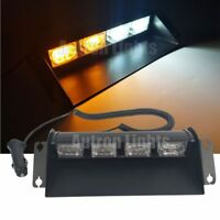 "12 LED 11"" Amber&White Flash Emergency Beacon Dash Strobe Windshield Light Bar"