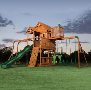 Image Is Loading Kids Garden Playhouse Outdoor Children Slide Large Swing