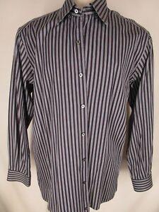 Ermenegildo-Zegna-Mens-Navy-Stripe-Long-Sleeve-Cotton-Shirt-L-Italy-Made