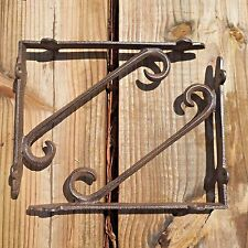 "Set of 2 antique style Cast Iron Decorative Shelf Brackets 9"" x 7.5"" #98"