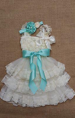 Extra full Flower Girl Dress Rustic dress,Country dress,Baby Girls Dress,Ivory,