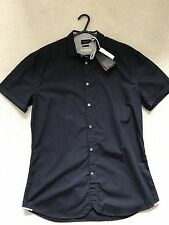 "Paul Smith  Navy Blue Short Sleeve Shirt   - M -  p2p 20.5"""