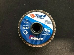 Weiler-Tiger-Bobcat-2-034-X-1-4-034-120-Grit-Type-27-Flap-Disc-Model-50936-QTY-10