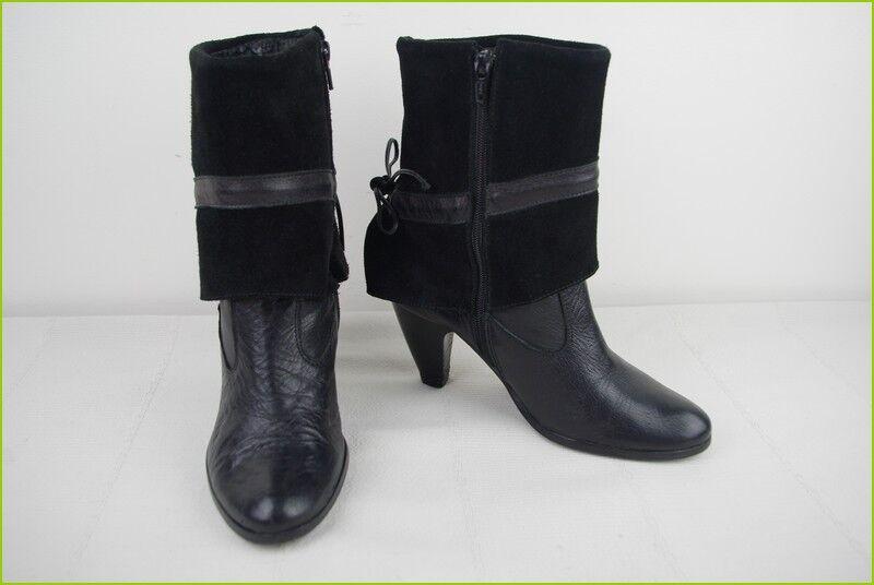 Bottines Boots women PIU Tout Cuir et Daim black T 36 BE