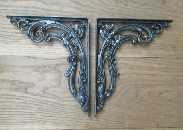 PAIR OF CAST IRON PENNY END rustic shelf Bracket wall Support books storage
