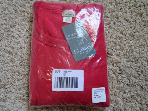 Double Layer Long Underwear LL Bean Crew neck Mens XL Tall Red Work NEW
