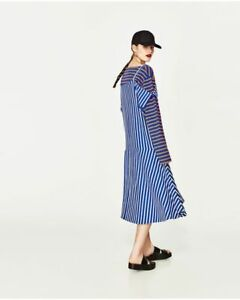 3b5676df ZARA Join Life SS17 Recycled Cotton Striped Frill Midi Dress Blue ...