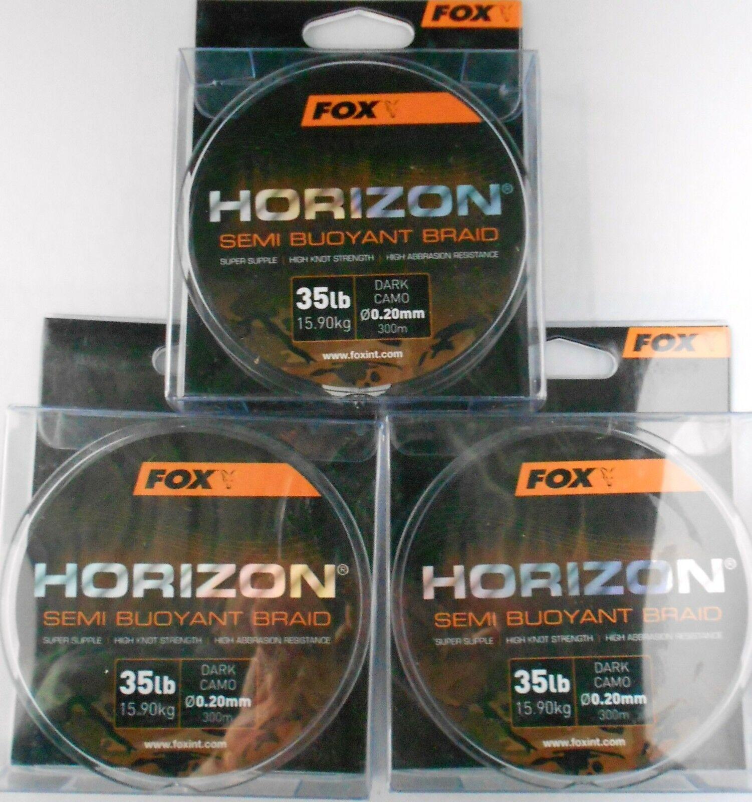 3 x FOX HORIZON SEMI BUOYANT BRAID 35lb 15.9kg 300m 0.20mm DARK CAMO CBL014