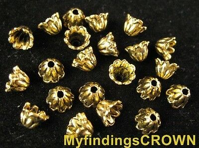 250 Pcs Antiqued gold Flower bead caps FC600